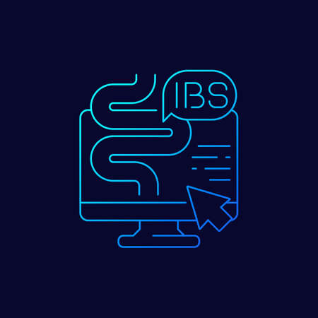 IBS, irritable bowel syndrome, vector linear icon