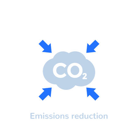 co2, carbon emissions reduction vector flat icon