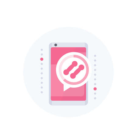 Fitness app notification, training vector icon