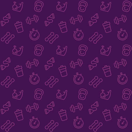 fitness pattern, seamless background with line gym icons