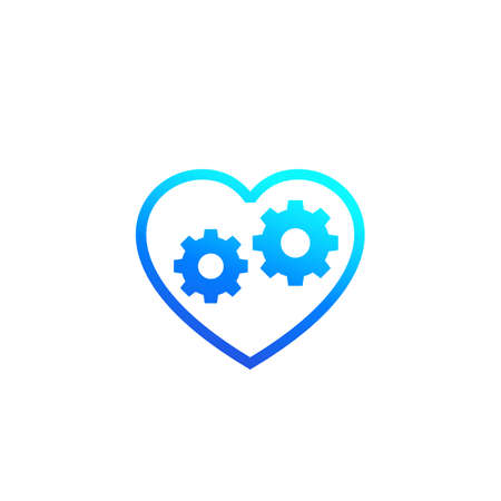 biotechnology icon with heart and cogwheels, vector