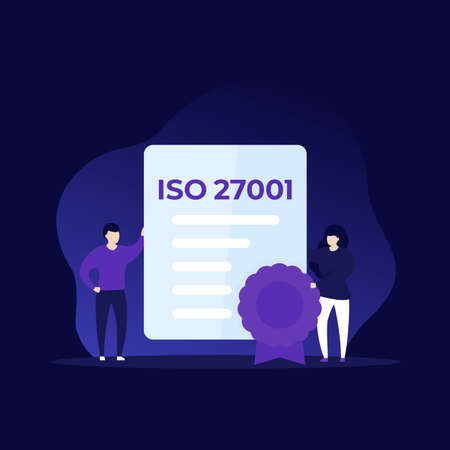ISO 27001 certificate and people, vector illustration