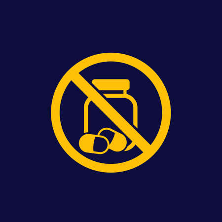 No pills and drugs vector sign