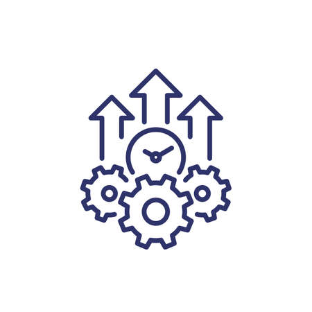 efficiency growth line icon on white