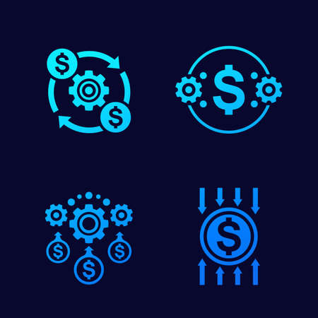 efficiency, cost reduction and optimization vector icons