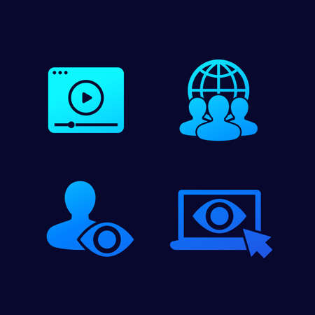 viewers, audience vector icons for web Illusztráció