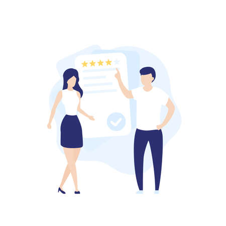 feedback and review, vector illustration with people