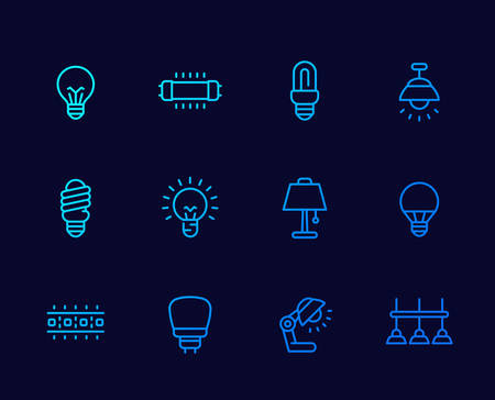 light bulbs, illumination and lamps thin line icons