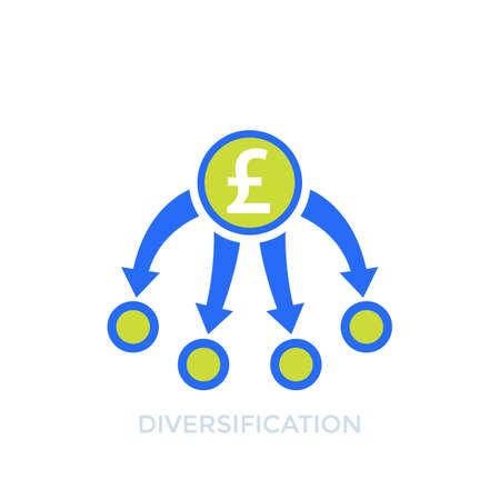 diversification, diversified portfolio icon with pound