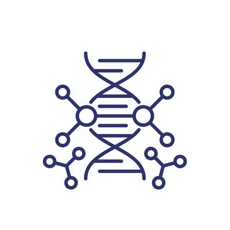 genetic engineering and dna modification line icon Ilustração