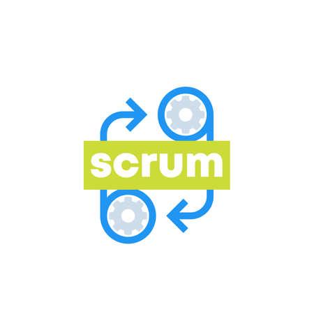 Scrum development icon on white Ilustração