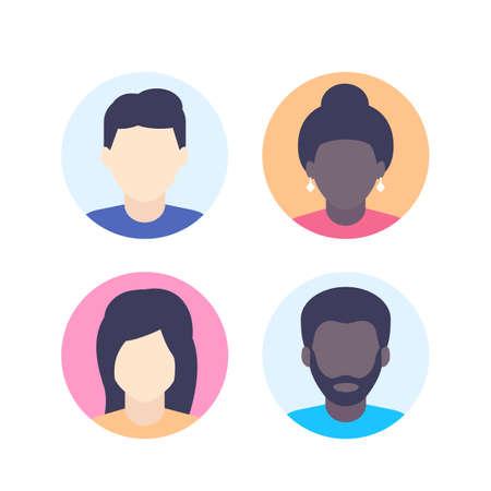 Avatars, default photo placeholder, multiracial profile pictures
