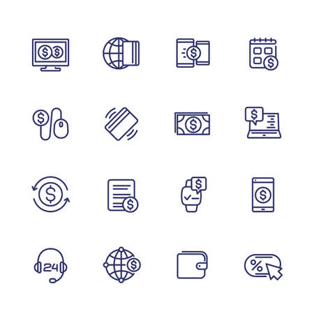 Payments, internet banking and online money transfer line icons set