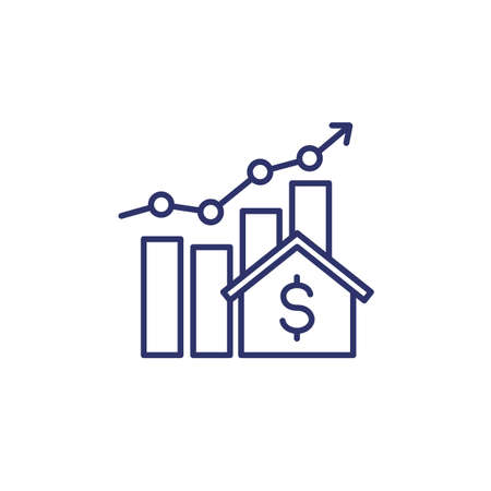 house prices growth icon with graph, line vector
