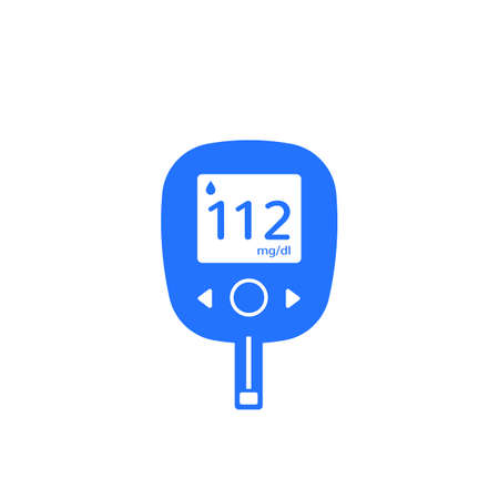 Glucose test, glucometer icon on white