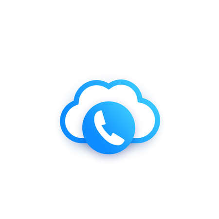 Voip telephony icon on white