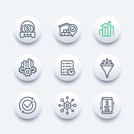 business management icons, line vector set