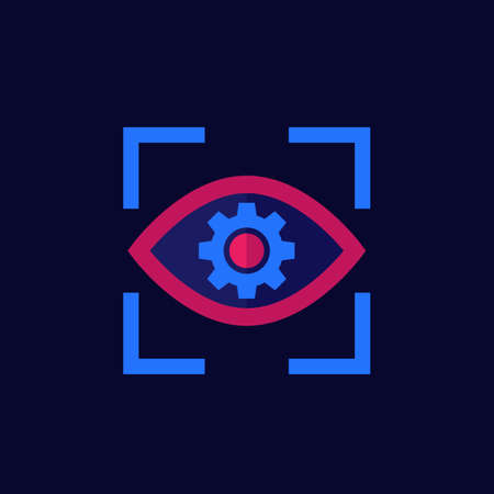 eye with gear icon, flat vector
