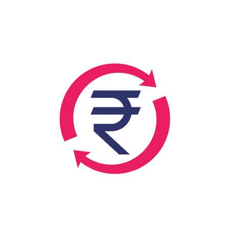 indian rupee, money refund, exchange icon Vecteurs