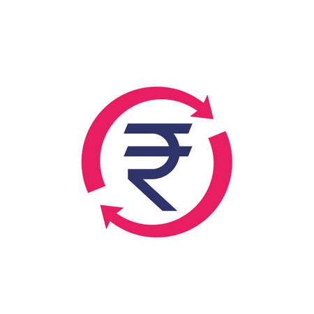 indian rupee, money refund, exchange icon