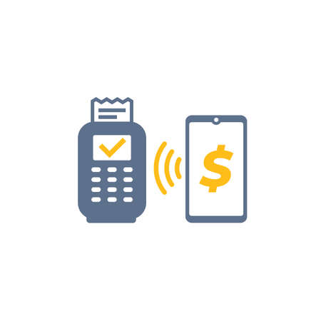 Contactless payment with pos terminal and smart phone, vector icon