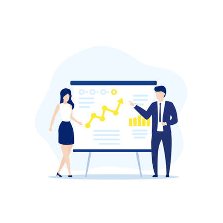 Presentation with business data and people