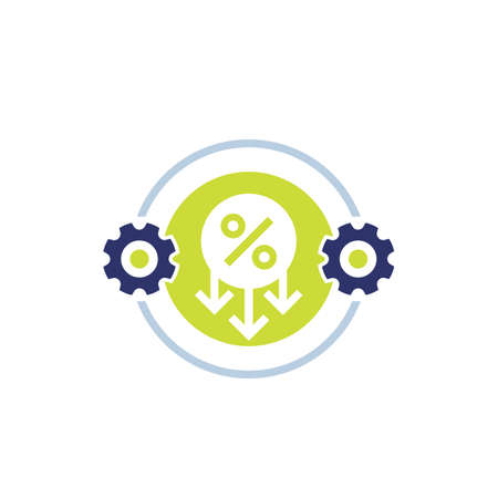 cost optimization and reduction icon on white 向量圖像