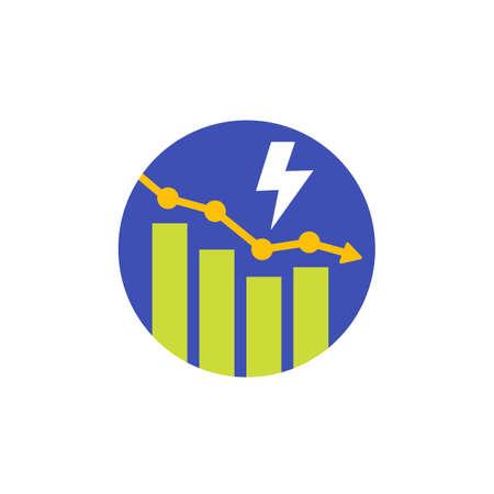 power consumption decrease, reduction vector icon 向量圖像