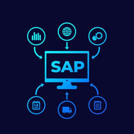 SAP, business software vector icons on dark Illustration
