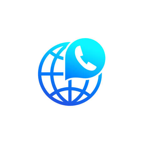 Voip telephony, call icon on white