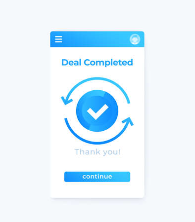 deal completed, vector mobile app ui