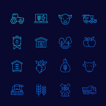 farming and agriculture icons set, thin line vector