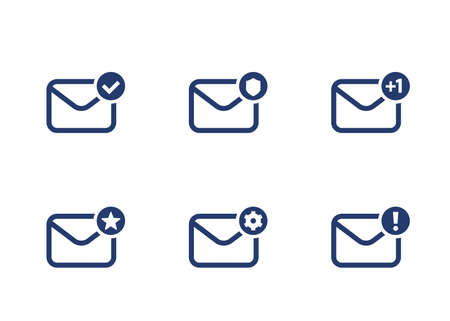email, inbox, mail icons on white, vector set