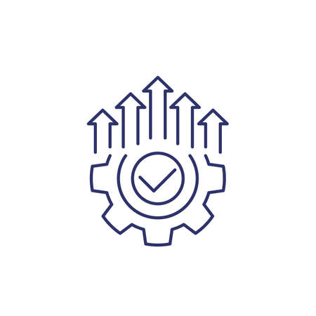 efficient production and efficiency icon, line 일러스트