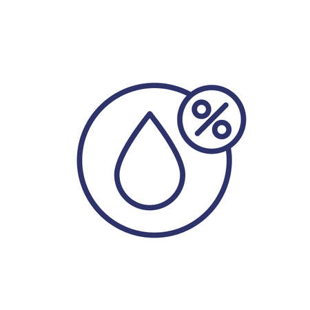 Humidity line icon, water drop and percent