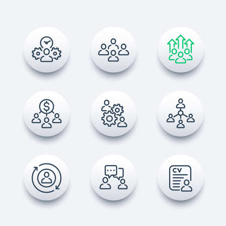team management, HR, people interacting line icons set