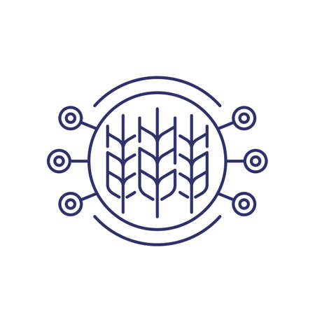 Smart farming line icon on white