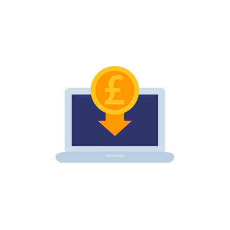 internet banking icon with pound, vector