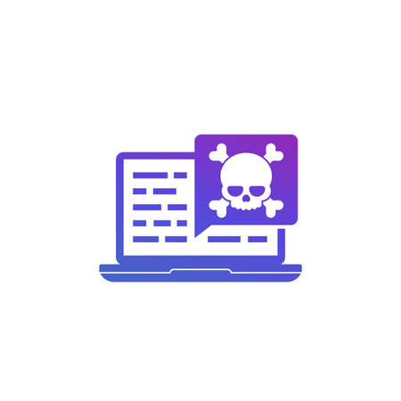 malware, security threat in code, icon on white