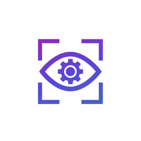 eye with gear icon on white