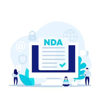 NDA, Non disclosure agreement, vector illustration
