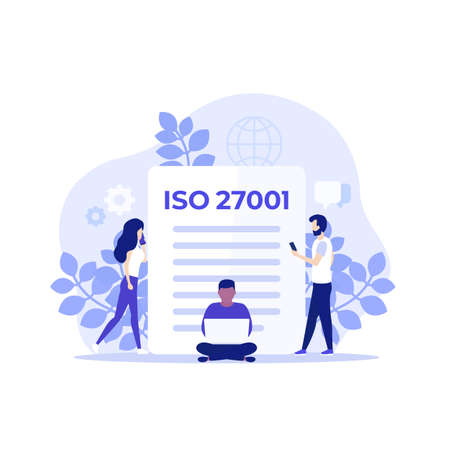 ISO 27001 certification and people, vector