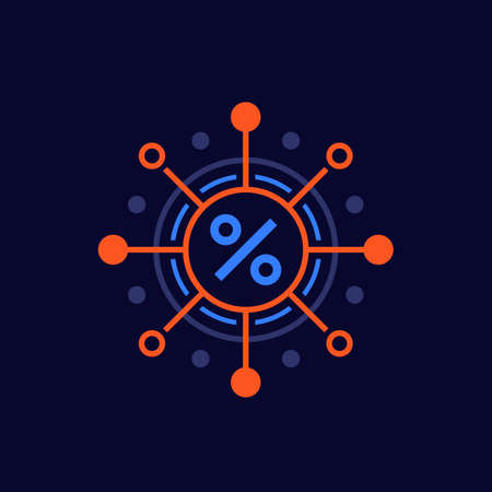 compound interest, percent vector icon
