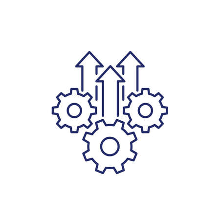 Operational excellence, production growth line icon