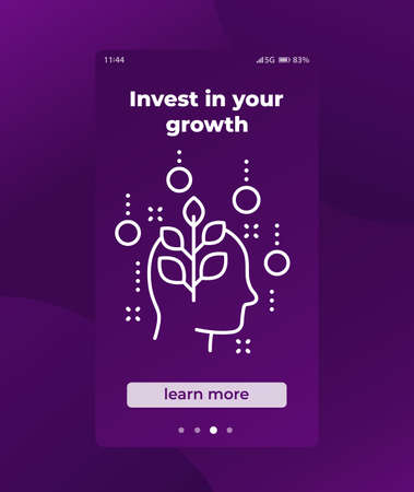 invest in personal growth mobile app ui Vector Illustration