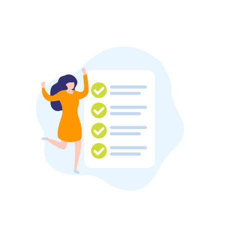 completed task, to do list, vector icon with woman and checklist