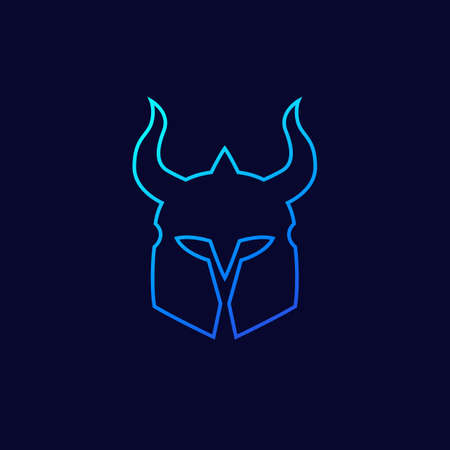 helmet with horns vector outline