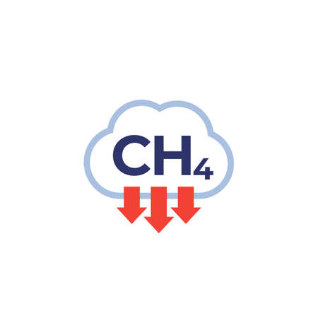 methane emissions, CH4 icon on white, vector