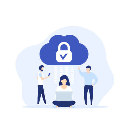 Secure cloud access, protected hosting vector illustration with people