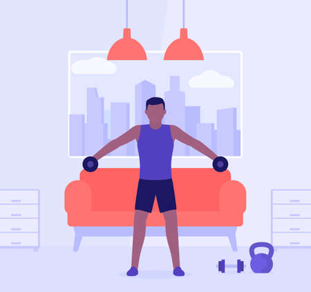 Man training shoulders at home, vector